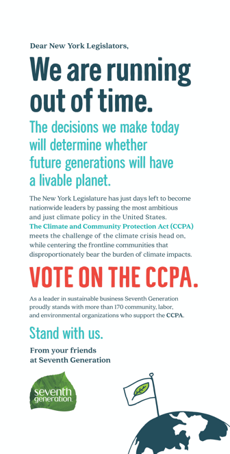 Seventh Generation ad asking New York legislators to vote on the Climate Community Protection Act