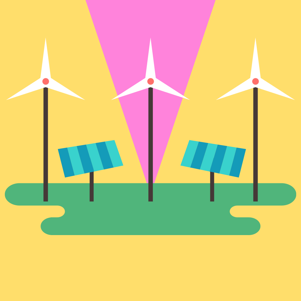 Illustration of windmills and solar panels