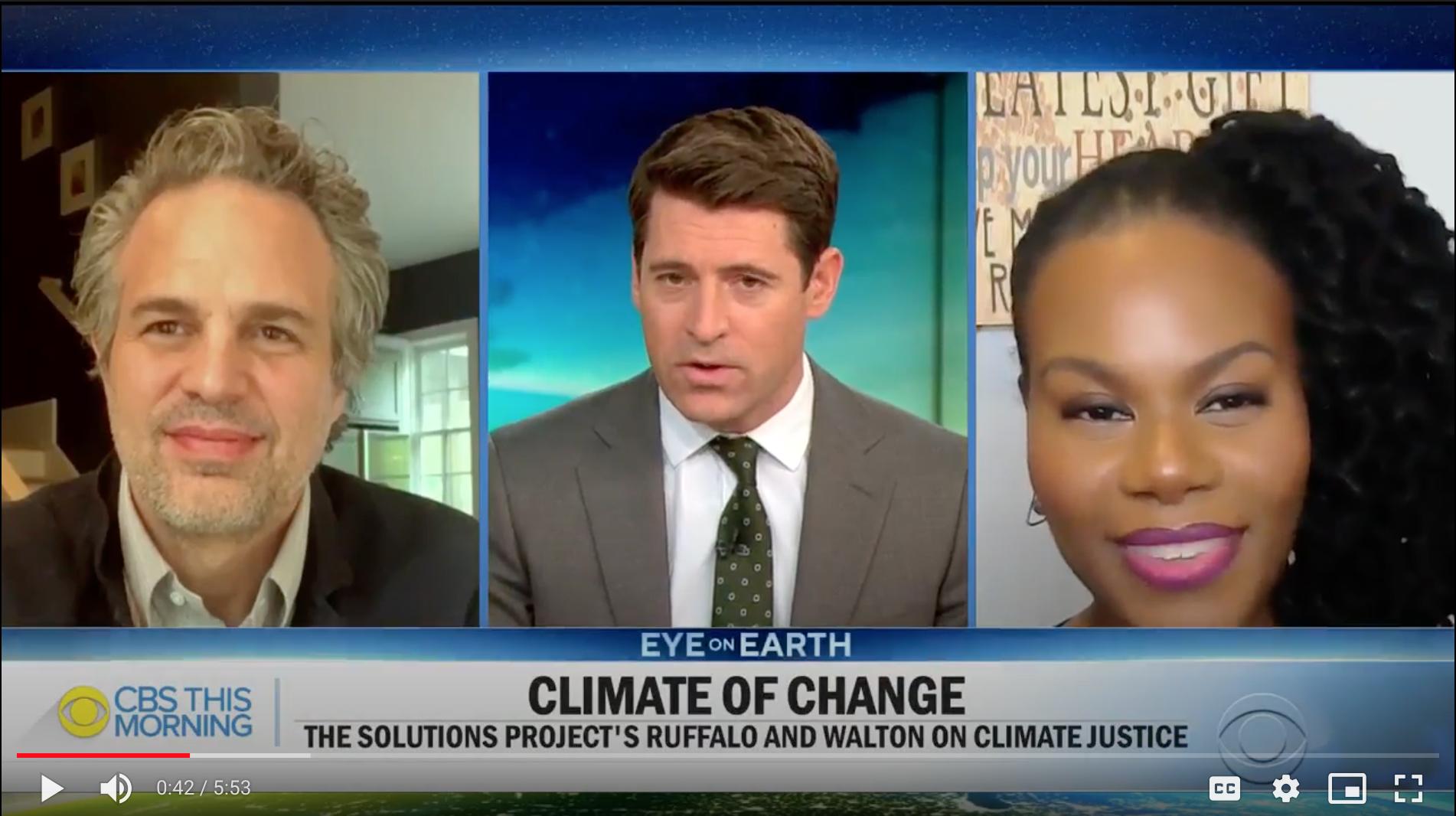 Screenshot of Mark Ruffalo and Gloria Walton on CBS This Morning.