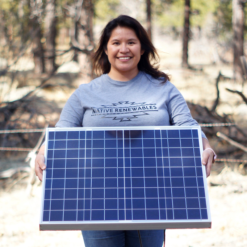 Native Renewables - woman with solar panel