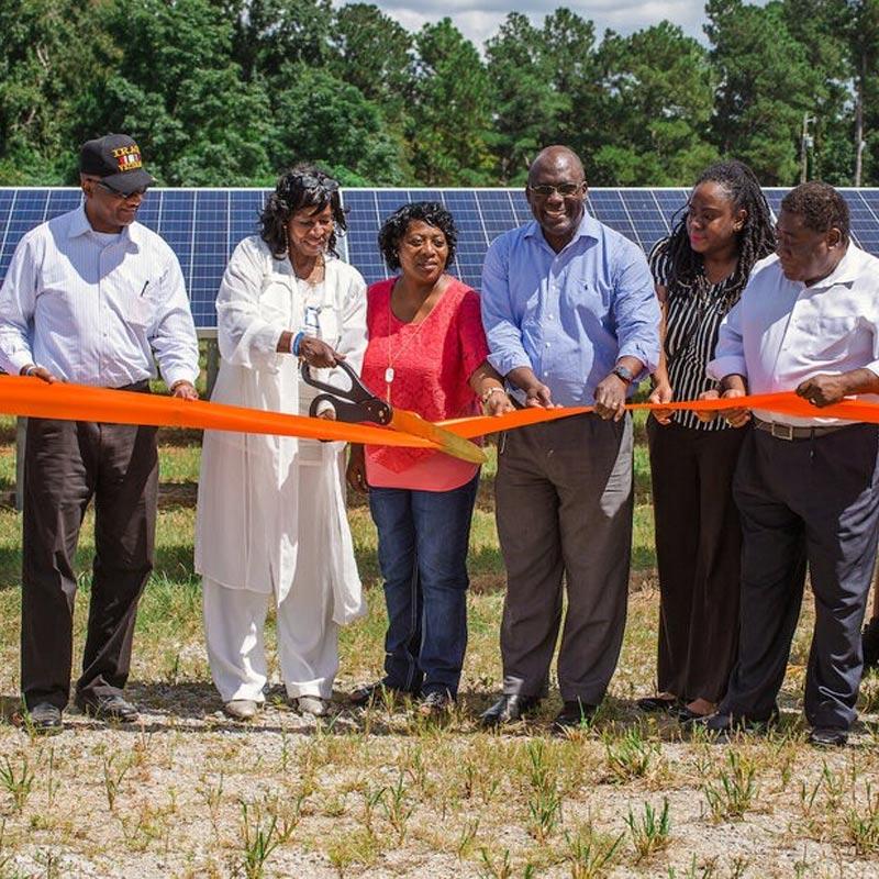Solar farm ribbon cutting
